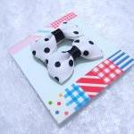 Mini White Polka Dots Bow Hair Pins..