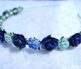 Floral Headpiece/ Hair Wreath/ Hair Crown ( Navy Blue, Blue & Mint )
