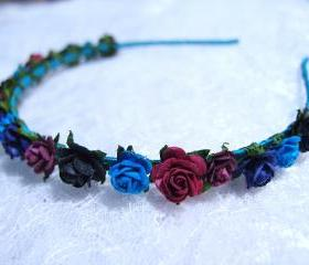 Floral Headpiece/ Hair Wreath/ Hair Crown ( Black, Navy Blue, Maroon )
