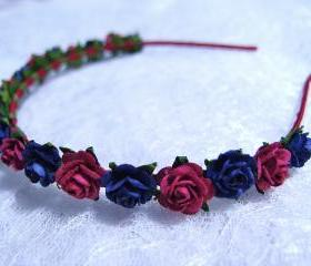 Floral Headpiece/ Hair Wreath/ Hair Crown ( Navy Blue and Maroon )