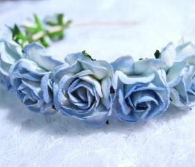 Blue Floral Headpiece/ Hair Wreath/ Hair Crown