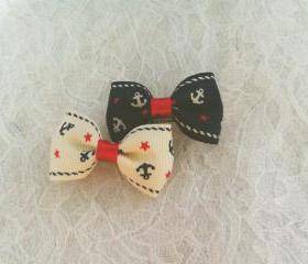 Mini Sailor Bow Hair Pins ( 2 in a set )
