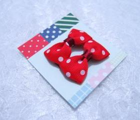 Mini Red Polka Dots Bow Hair Pins ( 2 in a set )