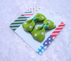 Mini Green Polka Dots Bow Hair Pins ( 2 in a set )
