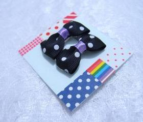 Mini Black Polka Dots Bow Hair Pins ( 2 in a set )