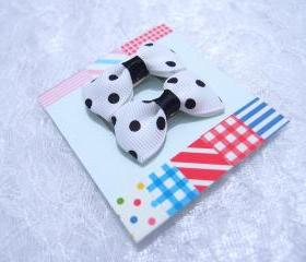Mini White Polka Dots Bow Hair Pins ( 2 in a set )