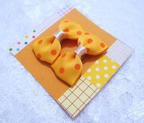 Mini Mustard Polka Dots Bow Hair Pins ( 2 in a set )