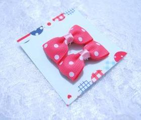 Mini Pink Polka Dots Bow Hair Pins ( 2 in a set )