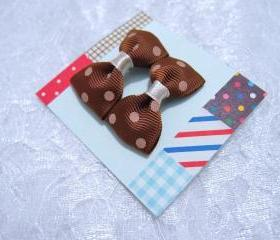 Mini Brown (Chocolate) Polka Dots Bow Hair Pins ( 2 in a set )