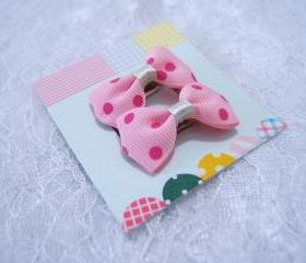 Mini Pastel Pink with Dark Pink Polka Dots Bow Hair Pins ( 2 in a set )