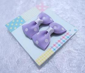 Mini Pastel Purple with White Polka Dots Bow Hair Pins ( 2 in a set )