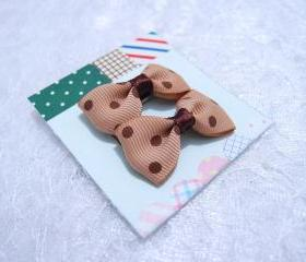 Mini Pastel Brown Polka Dots Bow Hair Pins ( 2 in a set )
