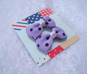 Mini Pastel Purple Polka Dots Bow Hair Pins ( 2 in a set )